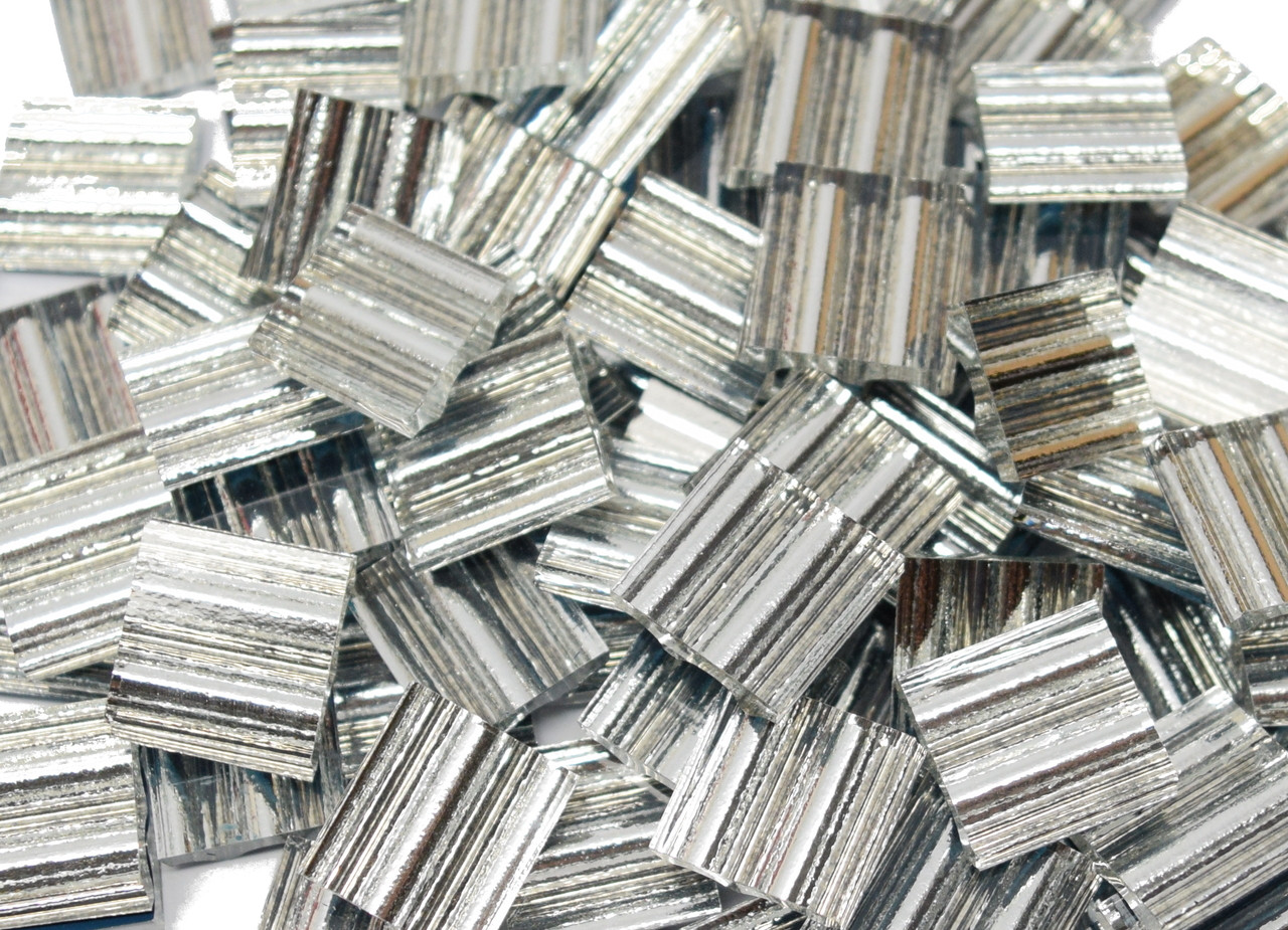 Ruffled Silver Mirror Hand Cut Glass Mosaic Tiles