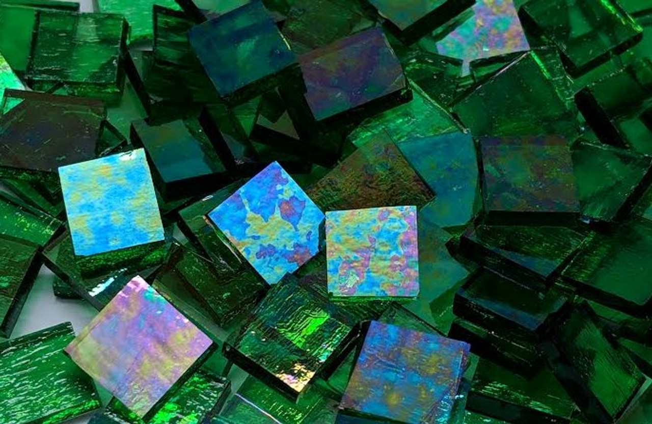 """3/4"""" x 3/4"""" Emerald Green Iridescent Stained Glass Mosaic Tiles (40 tiles)"""