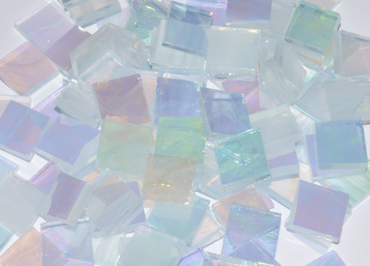 """1/2"""" x 1/2"""" Clear & White Wispy Iridescent Stained Glass Mosaic Tiles (100 tiles)"""