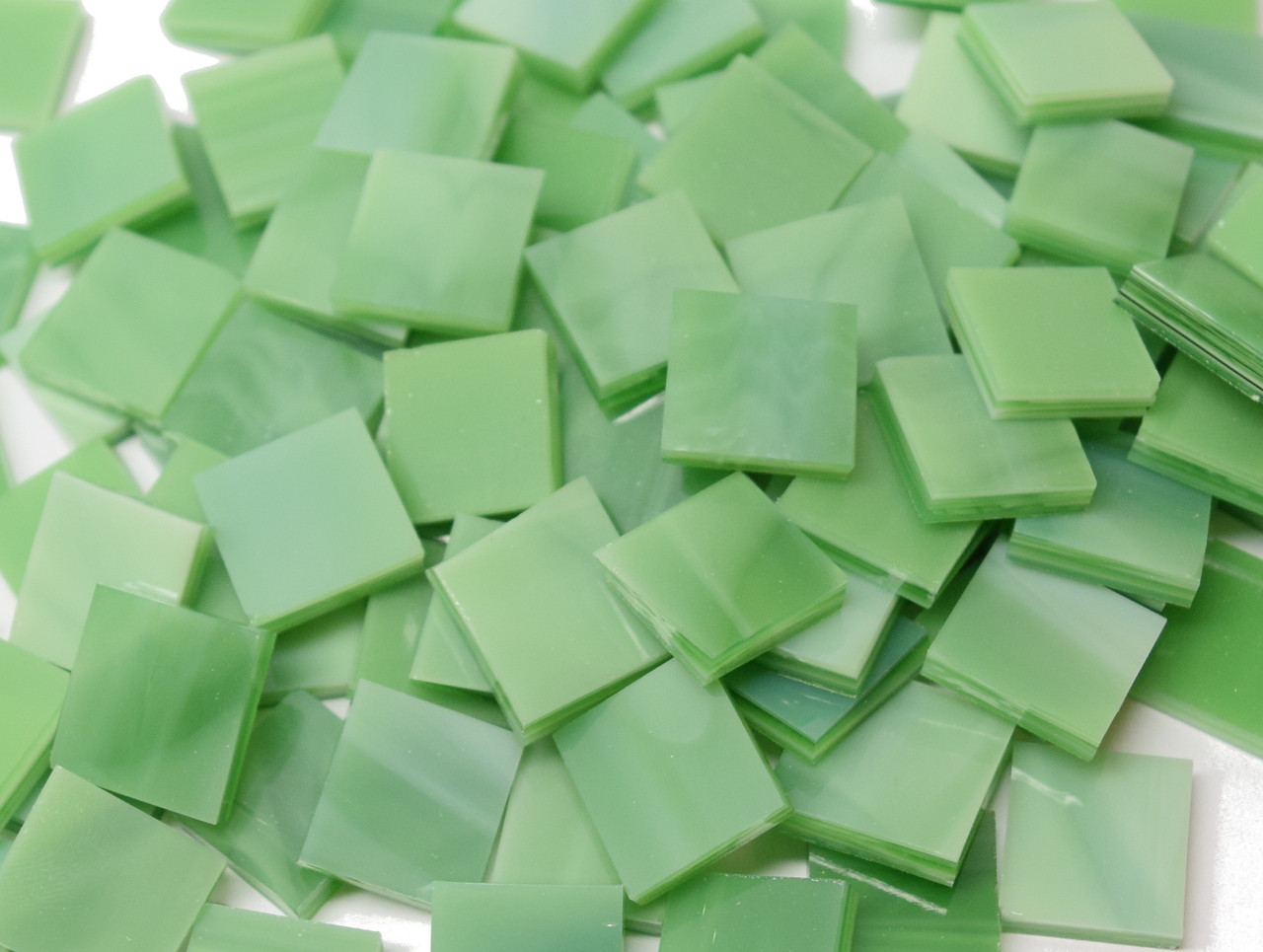 """3/4"""" x 3/4"""" Grassy Green Wispy Handcut Stained Glass Mosaic Tiles, COE 96 (40 tiles)"""