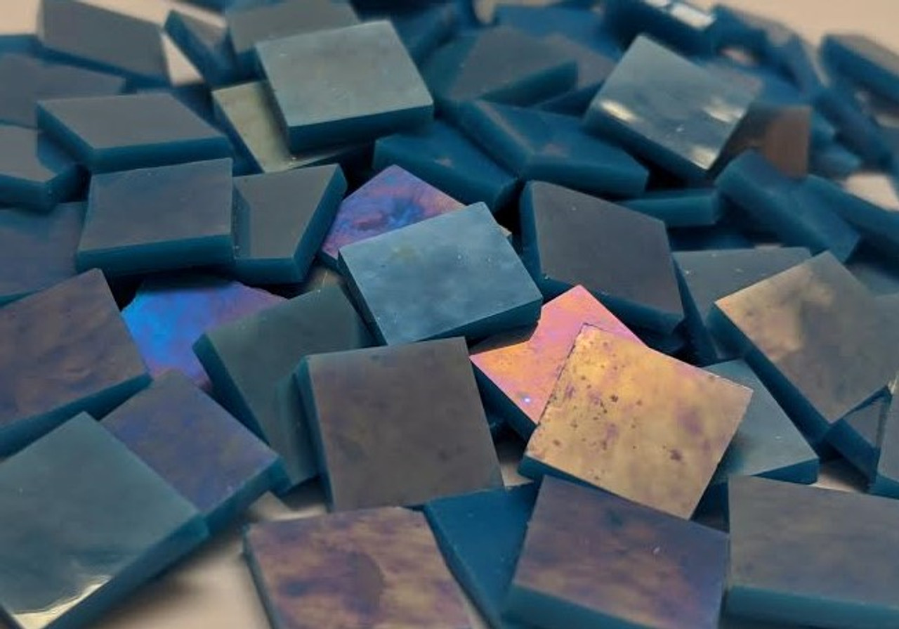 """3/4"""" x 3/4"""" Reactive Blue Opal Luminescent Stained Glass Mosaic Tiles COE 96 (40 tiles)"""