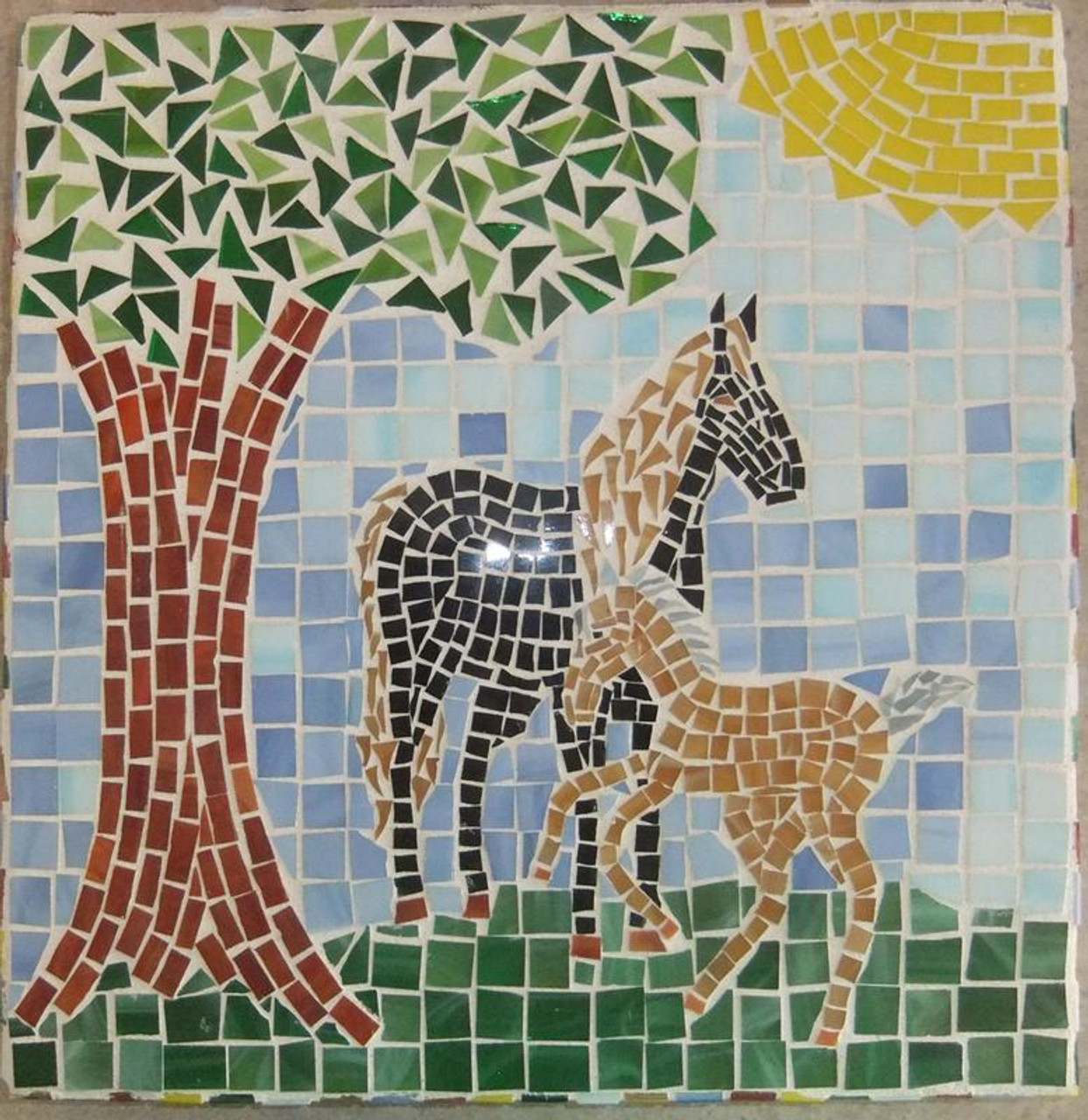"""1/2"""" x 1/2"""" Amber & White Opal Stained Glass Mosaic Tiles (100 tiles)"""
