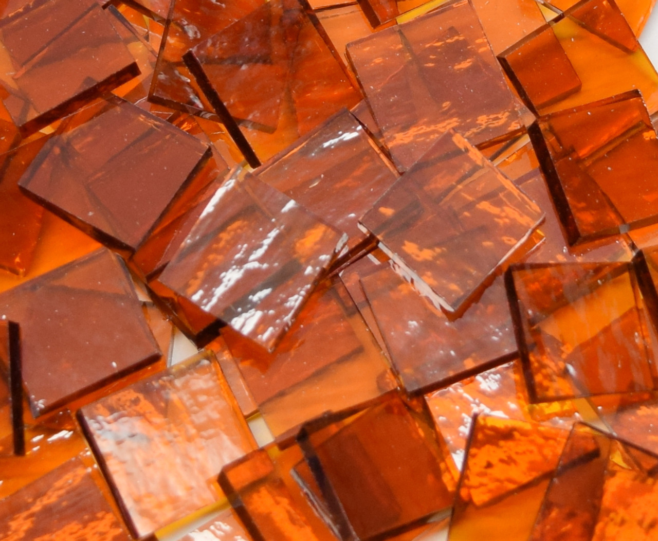 """1/2"""" x 1/2"""" Medium Amber Rough Rolled Stained Glass Mosaic Tiles (100 tiles)"""