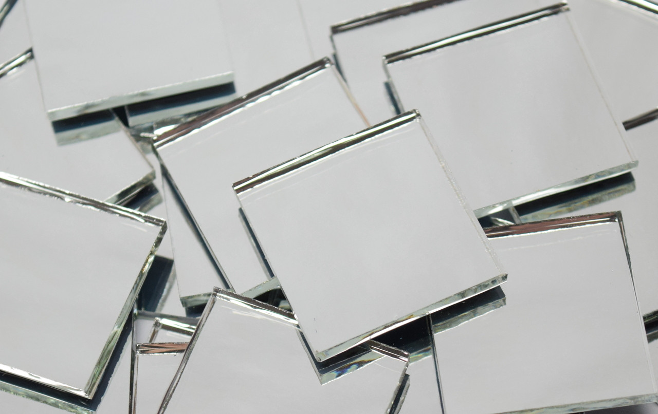 """2"""" x 2"""" Silver Mirror Waterglass Stained Glass Mosaic Tiles (5 tiles)"""