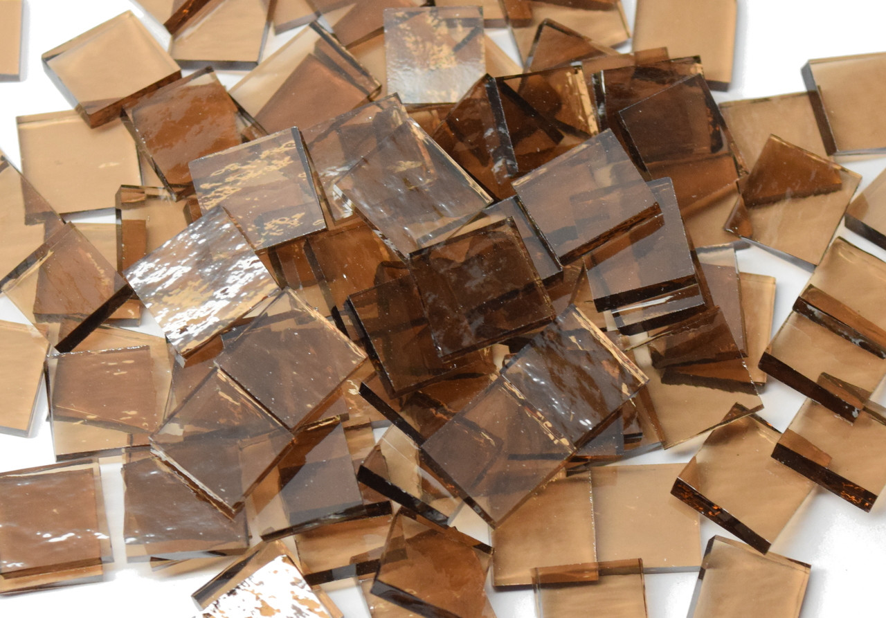 Bronze Rough Rolled Stained Glass Mosaic Tiles