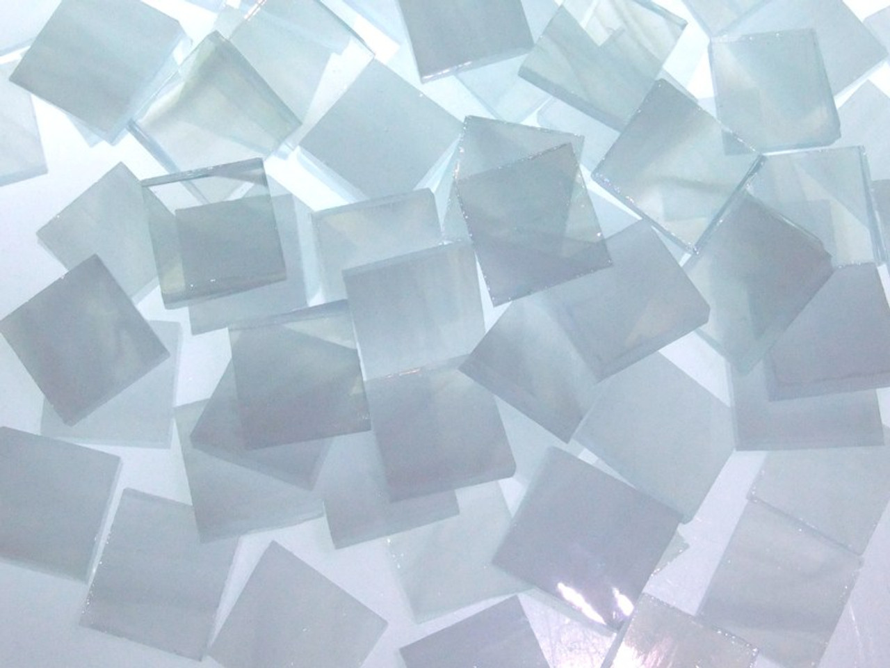 Clear & White Wispy Stained Glass Mosaic Tiles, COE 96
