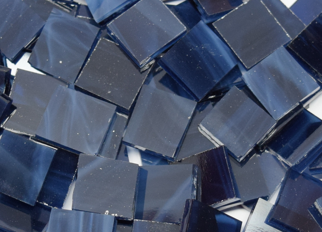 Navy Blue Wispy Stained Glass Mosaic Tiles, COE 96