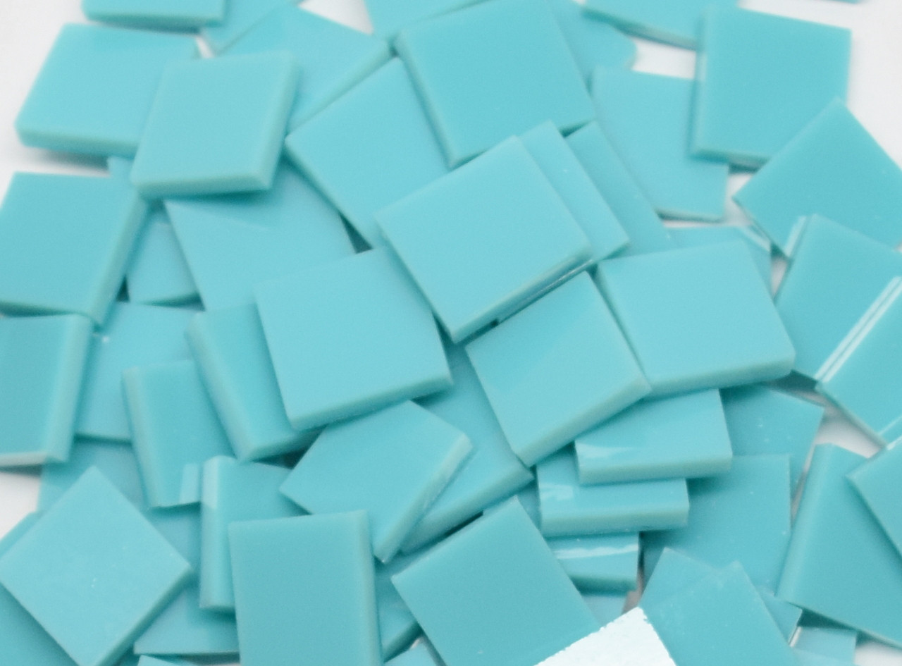 Turquoise Green Opal Stained Glass Mosaic Tiles, COE 96