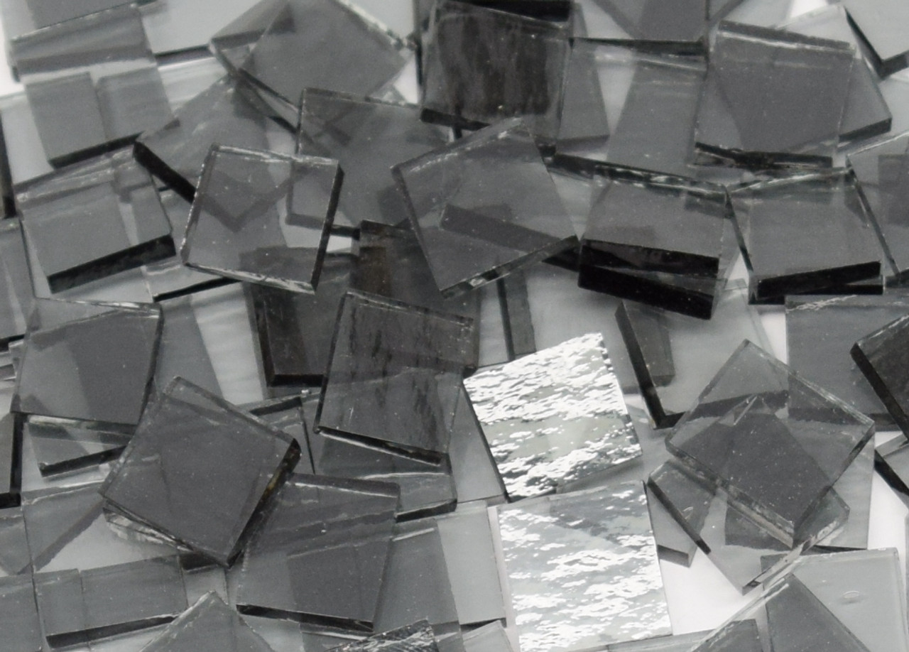 Pale Gray Rough Rolled Stained Glass Mosaic Tiles
