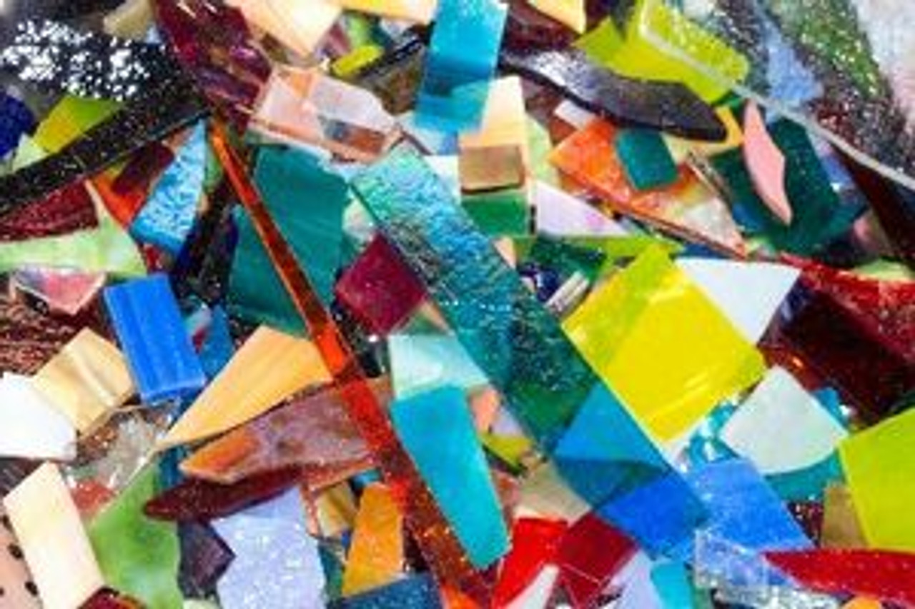 1/2 pound of MOSAIC STAINED GLASS SCRAP