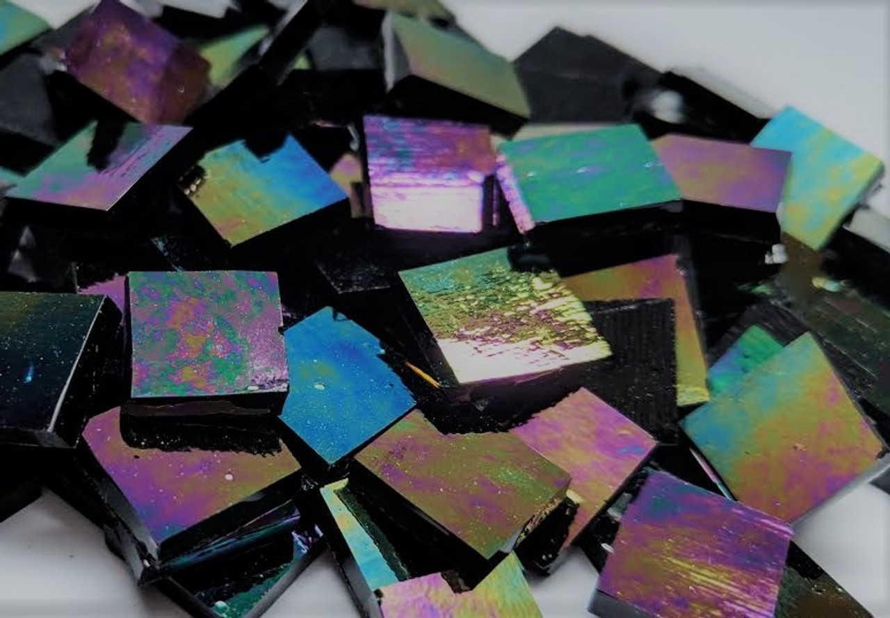 Black Opal Iridescent Stained Glass Mosaic Tiles