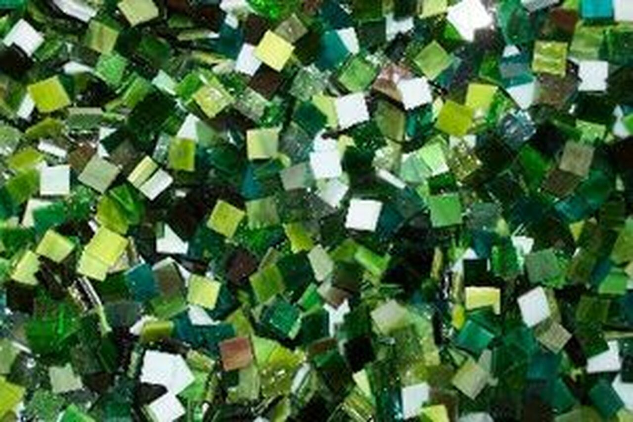 "1/2"" x 1/2"" Green Mix Stained Glass Mosaic Tiles (100 tiles)"