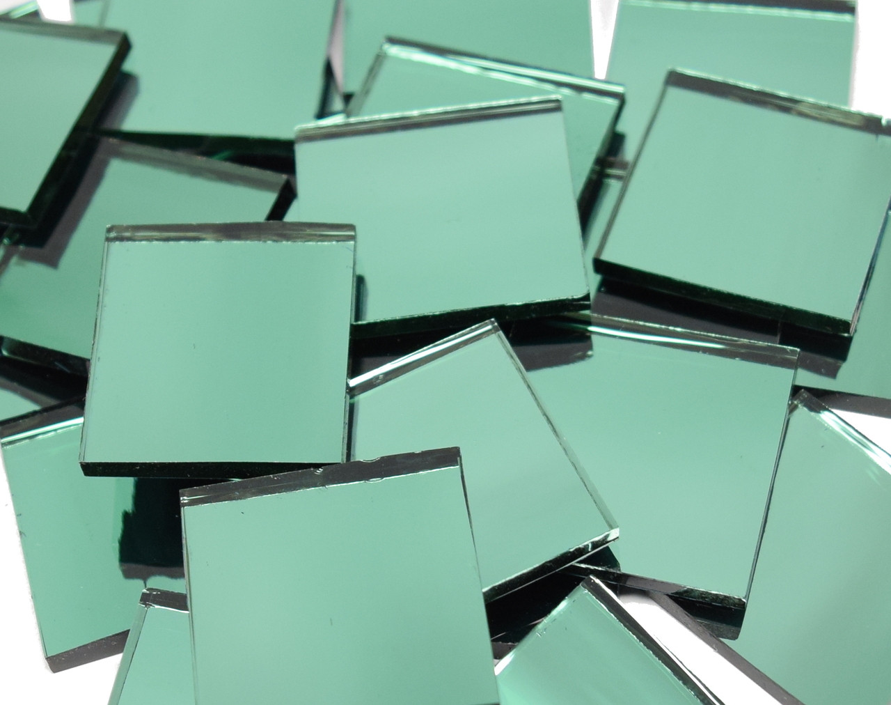 "1"" x 1"" Treefoil Green Mirror Mosaic Tiles"