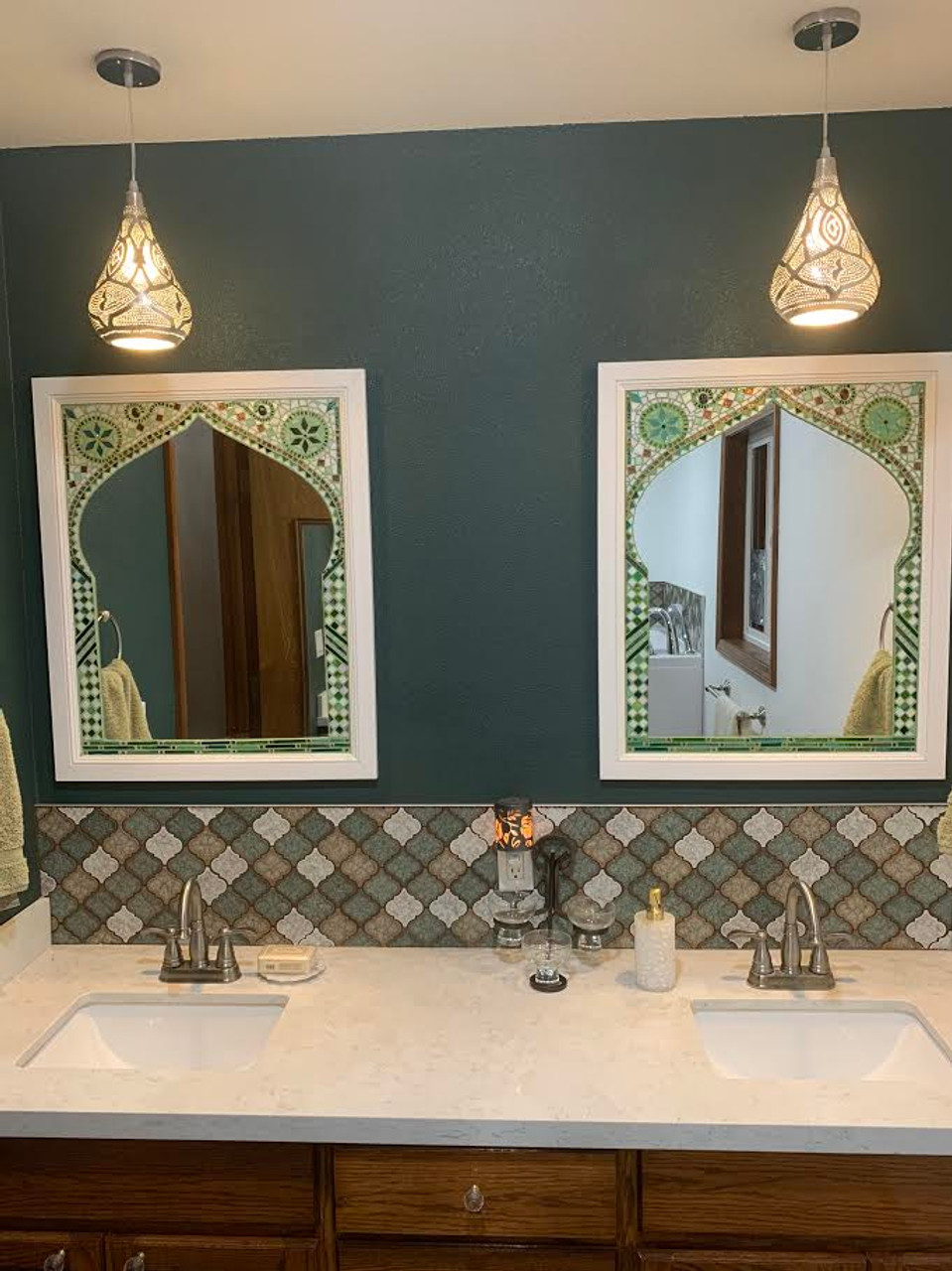 Treefoil Green Waterglass Mirror Stained Glass Mosaic Tiles