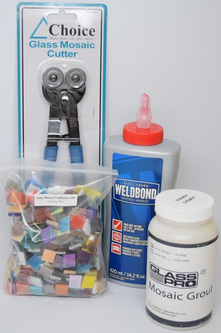 Mosaic Tile Art Starter Kit - SAVE $10 -  Weldbond Glue, Nippers, Grout & Tiles!
