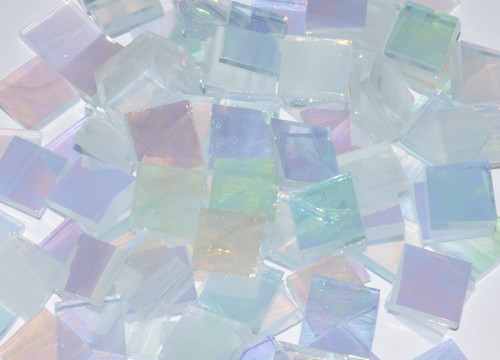 Bulk Discount - Clear & White Wispy Iridescent Stained Glass Mosaic Tiles