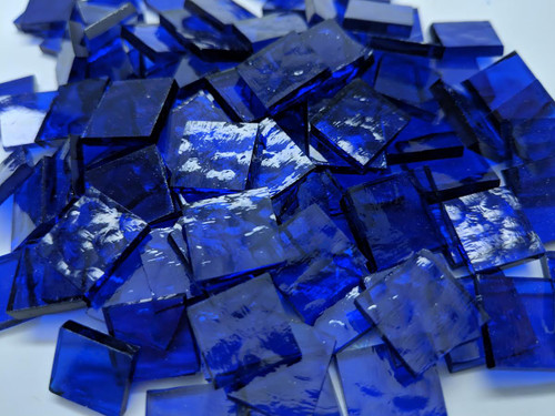 "3/4"" x 3/4"" Cobalt Blue Cathedral Classic Stained Glass Mosaic Tiles (40 tiles)"