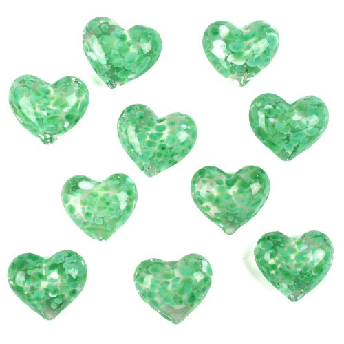 1 Round Glass Heart 25mm - GREEN & WHITE SPECKLED