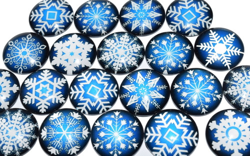 20 Snowflake Theme 25mm Round Glass Cabochons