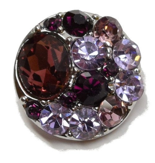 1 Purple Rhinestone Snap Button Embellishment