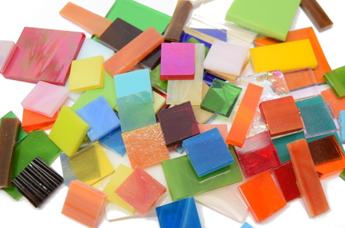 2 lb Random Jumbled Mix Stained Glass Mosaic Tiles - Save $10