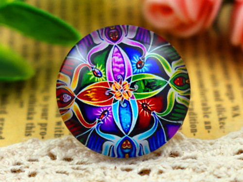 1 Bright 25mm Round Glass Cabochon