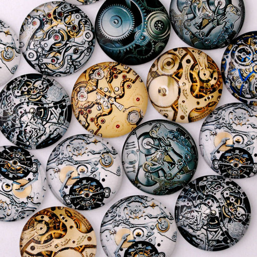 25mm Round Steampunk / Watch Gear Glass Cabochons (20 pcs)