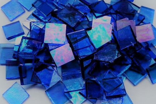 Light Cobalt Blue Translucent Iridescent Stained Glass Mosaic Tiles