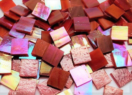 Fire Red Opal Iridescent Stained Glass Mosaic Tiles