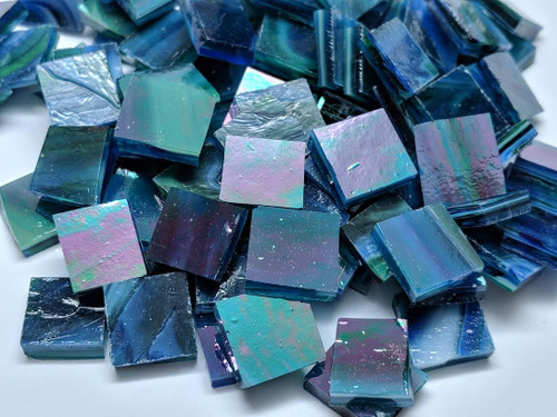 Bulk Discount - Dark Blue with Green Iridescent Stained Glass Mosaic Tiles