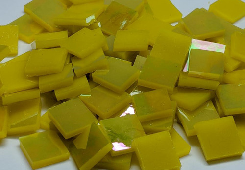Bright Yellow Opal Iridescent Stained Glass Mosaic Tiles