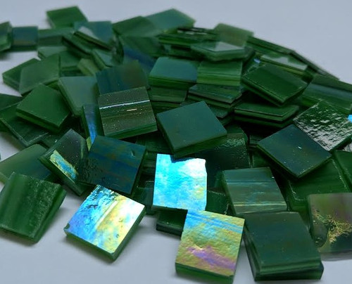 "3/4"" x 3/4"" Medium Green Iridescent Stained Glass Mosaic Tiles (40 tiles)"
