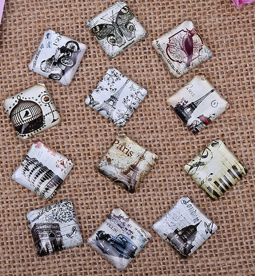 "24 Classic Romance 5/8"" Square Glass Cabochons"