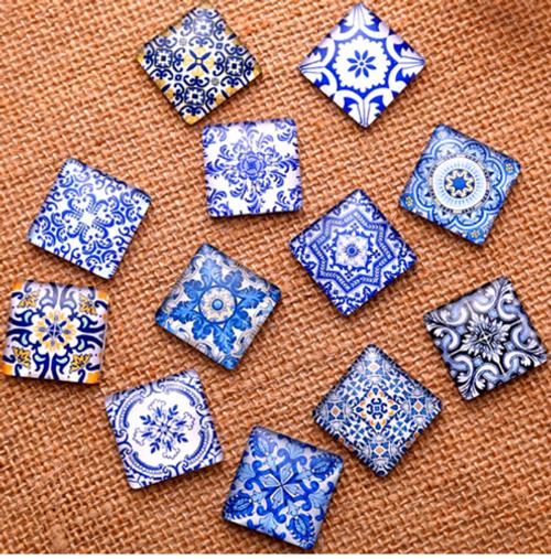 """24 Blue Pottery Theme 3/8"""" Mini Square Glass Cabochons"""