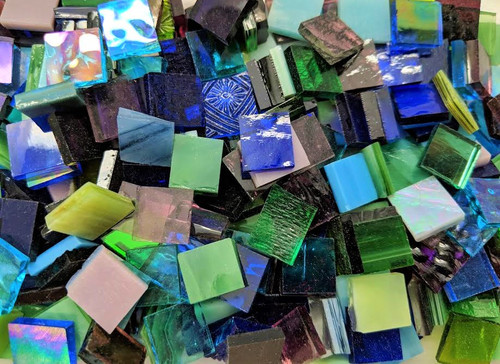 """1/2"""" x 1/2"""" Cool Mix Hand Cut Stained Glass Mosaic Tiles (100 tiles)"""