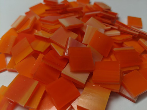 NEW COLOR:  Orange Blaze Stained Glass Mosaic Tiles