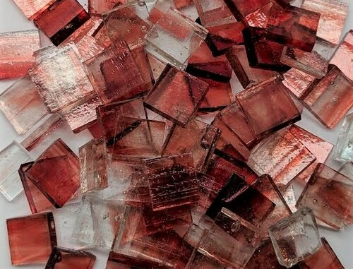 "1/2"" x 1/2"" Copper Red Crystal Streaky Stained Glass Mosaic Tiles (100 tiles)"