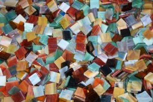 "3/4"" x 1/2"" Earth Tones Mix Stained Glass Mosaic Tiles (70 tiles)"