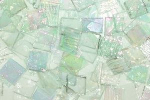 """1"""" x 1"""" Clear Mix Stained Glass Mosaic Tiles (25 tiles)"""