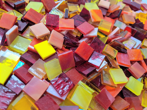 "3/4"" x 3/4"" Hot Mix Stained Glass Mosaic Tiles (40 tiles)"