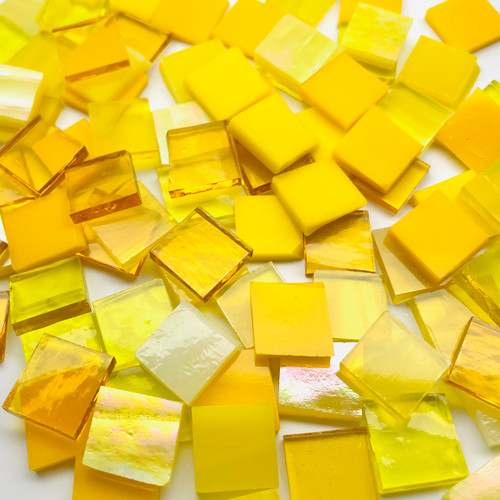 """1"""" x 1"""" Yellow Mix Stained Glass Mosaic Tiles (25 tiles)"""