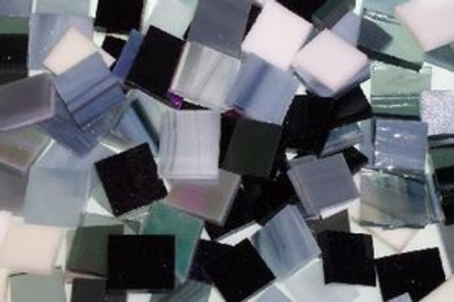 """1"""" x 1"""" Neutral Mix Stained Glass Mosaic Tiles (25 tiles)"""