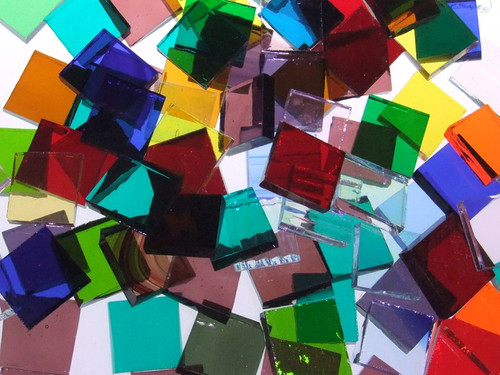 """1/2"""" x 3/4"""" Translucent Mix Stained Glass Mosaic Tiles (70 tiles)"""