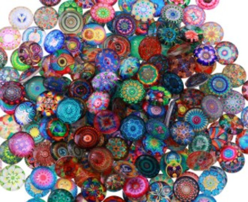 """20 """"All Mixed Up"""" 14mm Round Glass Cabochons"""