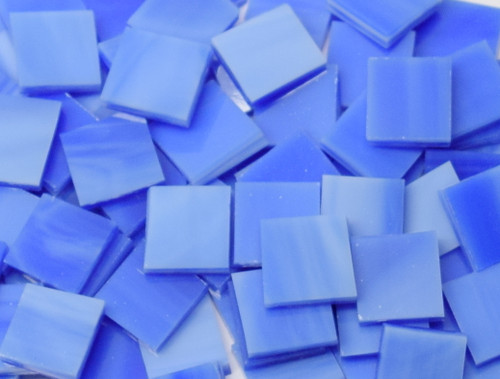 Cobalt Blue & White Stained Glass Mosaic Tiles
