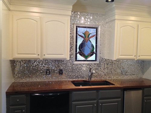 """1"""" x 1/2"""" Silver Mirror Waterglass Stained Glass Mosaic Tiles (50 tiles)"""
