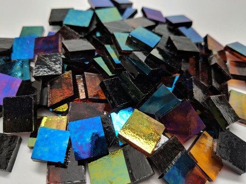 """3/4"""" x 3/4"""" Dark Amber Translucent Iridescent Stained Glass Mosaic Tiles (40 tiles)"""
