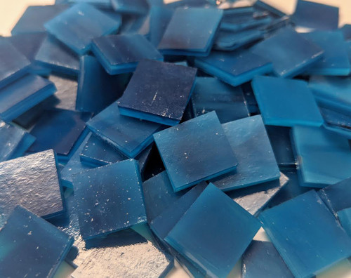 """3/4"""" x 3/4"""" Royal Blue Blend Handcut Stained Glass Mosaic Tiles (40 tiles)"""