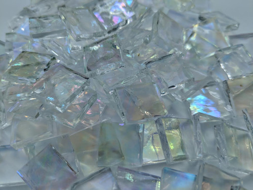 Clear Rippled Iridescent Stained Glass Mosaic Tiles