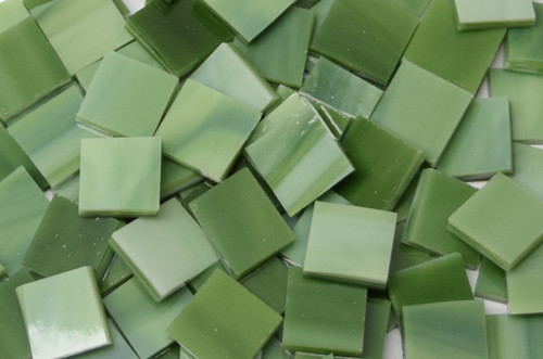 Avocado Green Stained Glass Mosaic Tiles, COE 96